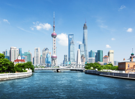 oriental pearl tower: Shanghai skyline in sunny day, China