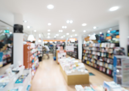 blurred photo of book store Imagens