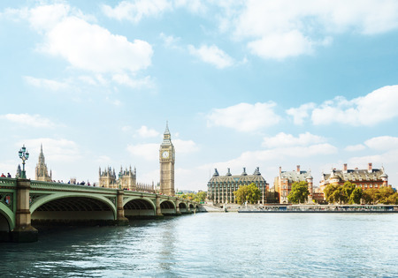 london skyline: Big Ben in sunny day, London