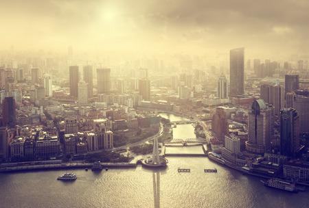 urban scene: skyline of Shanghai at sunset, China Stock Photo