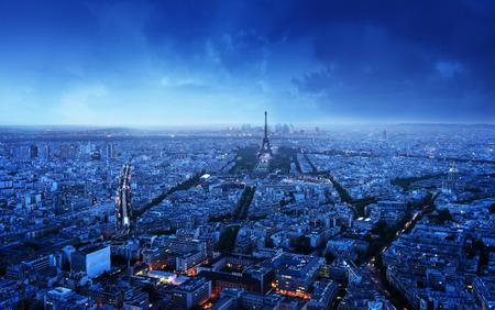aerial city: Paris skyline at sunset, France
