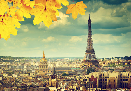 autumn in the city: autumn leaves in Paris and Eiffel tower