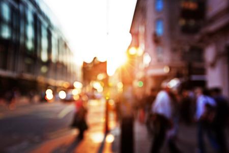 street people: people in bokeh, street of London