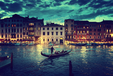 italian landscape: Grand Canal in sunset time, Venice, Italy Stock Photo