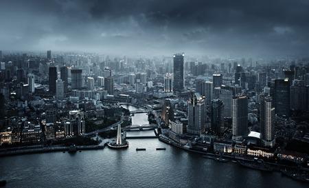 Horizonte de Shanghai al atardecer, China Foto de archivo - 43161820