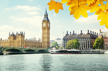 autumn leaves and Big Ben, London