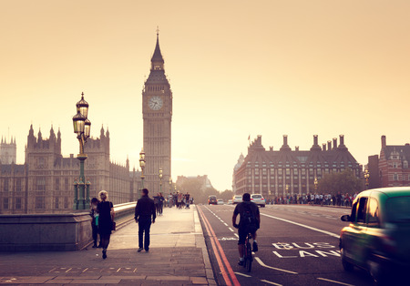 london street: Westminster Bridge at sunset, London, UK