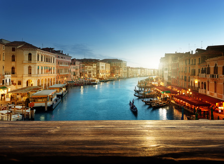 wooden table in Venice, Italy