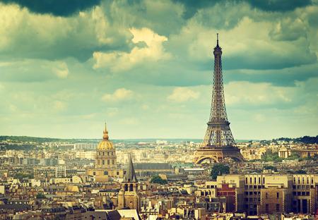 paris vintage: Torre Eiffel, París. Francia