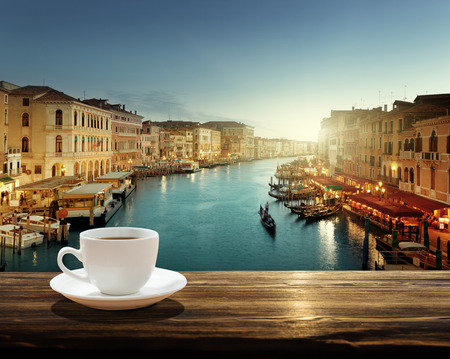 coffee on table and Venice in sunset time, Italy 스톡 콘텐츠