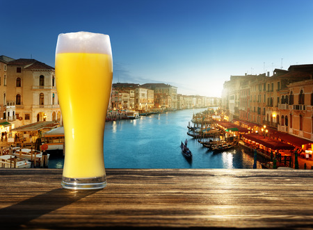single beer: fresh  unfiltered beer in Venice, Italy