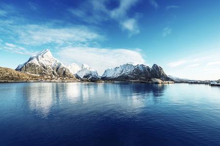 fishing village: snow in Reine Village, Lofoten Islands, Norway Stock Photo