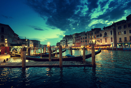 italy street: Grand Canal in sunset time, Venice, Italy Stock Photo