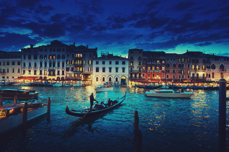 Grand Canal in sunset time, Venice, Italy Banque d'images