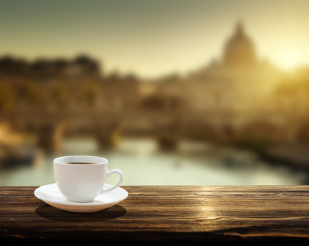 table: cup of coffee and St Peter Basilica in Vatican Stock Photo
