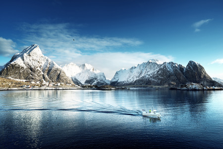 snow in Reine Village, Lofoten Islands, Norway Imagens