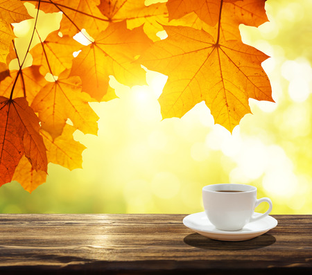 autumn food: cup of coffee and autumn leaves