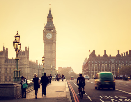 sunset city: Westminster Bridge at sunset, London, UK