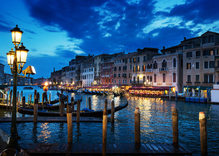 italy landscape: Grand Canal in sunset time, Venice, Italy Stock Photo