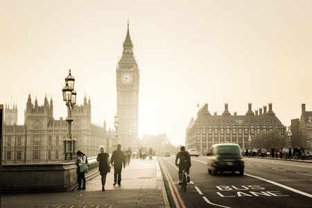 clock: Westminster Bridge at sunset, London, UK