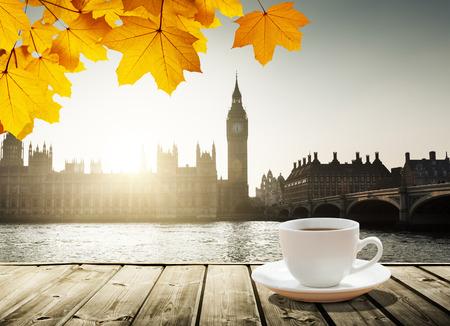 europe closeup: Big Ben at sunset and cup of coffee, London, UK