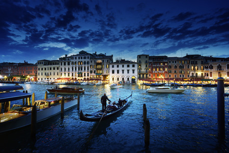 Grand Canal in sunset time, Venice, Italy Archivio Fotografico