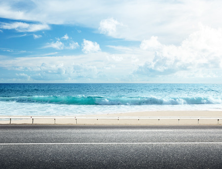 horizons: road on tropical beach