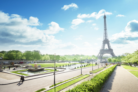 Eiffel Tower: sunny morning and Eiffel Tower, Paris, France Stock Photo