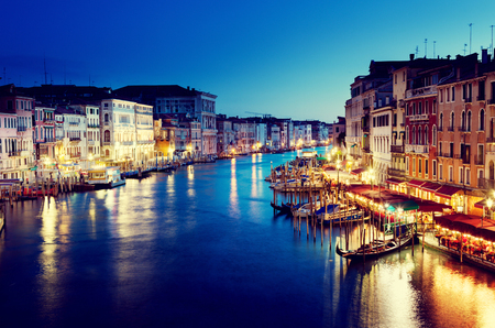 venice canal: Grand Canal in sunset time, Venice, Italy Stock Photo