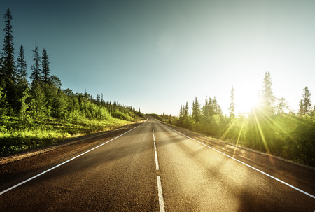 horizons: road in mountains Stock Photo