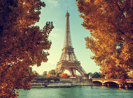 towers: Seine in Paris with Eiffel tower in autumn time