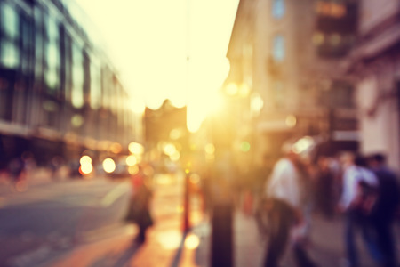 footpath: people in bokeh, street of London