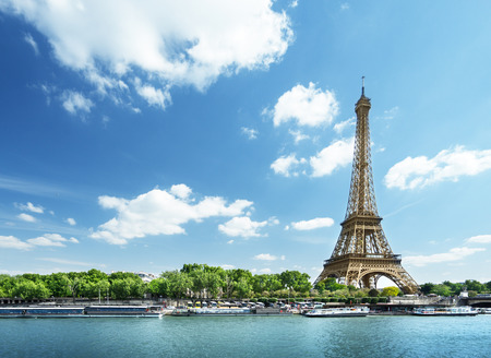 green landscape: Seine in Paris with Eiffel tower in morning time