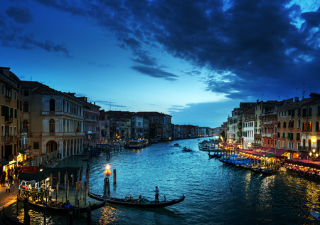 italy culture: Grand Canal in sunset time, Venice, Italy Stock Photo