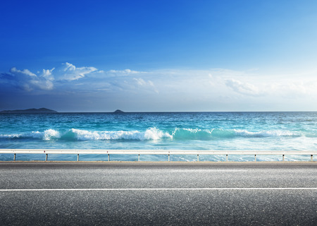 lake shore drive: road on tropical beach