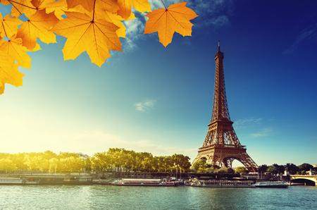 Seine à Paris avec la tour Eiffel en saison d'automne Banque d'images - 45489126