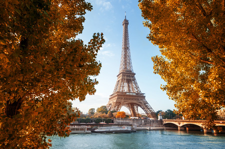 autumn sky: Seine in Paris with Eiffel tower in autumn time