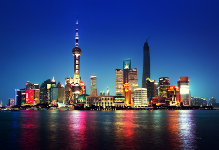 shanghai pudong skyline: Shanghai at night, China