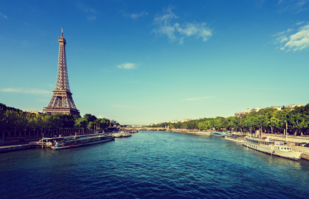water tower: Seine in Paris with Eiffel tower Stock Photo