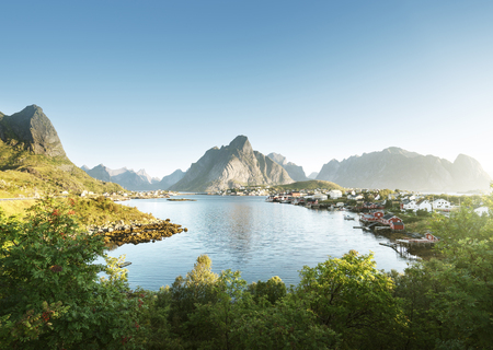 spring landscape: Reine Village, Lofoten Islands, Norway