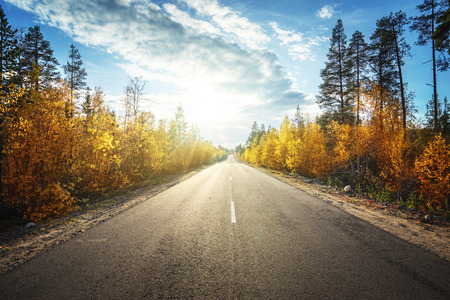 fall scenery: road in autumn  mountains Stock Photo