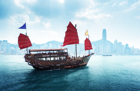 junks: Hong Kong harbour Stock Photo