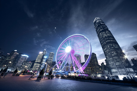 Observación de ruedas, Hong Kong Foto de archivo - 48263535