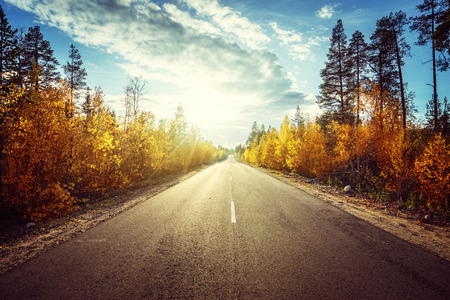 road travel: road in autumn  mountains Stock Photo