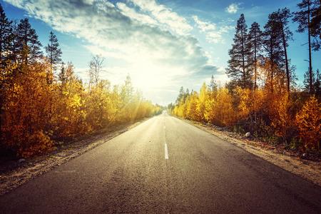 road in autumn  mountains Archivio Fotografico