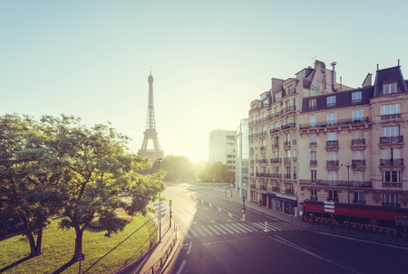 france: sunny morning and Eiffel Tower, Paris, France Stock Photo