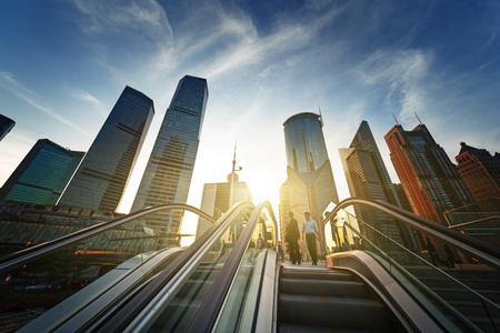 escalator in Shanghai lujiazui financial center, China Foto de archivo