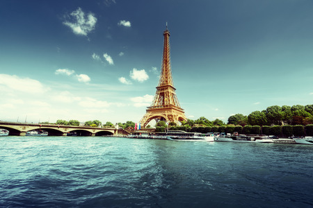 water tower: Seine in Paris with Eiffel tower in morning time