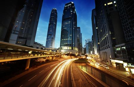 hongkong: traffic in Hong Kong at sunset time Stock Photo