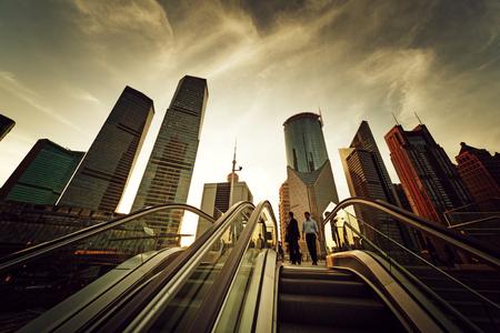 overbridge: escalator in Shanghai lujiazui financial center, China Stock Photo